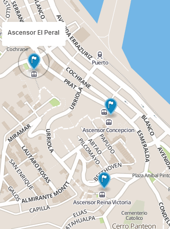 map locations for Ascensors El Peral, Concepcion, and Reina Victoria