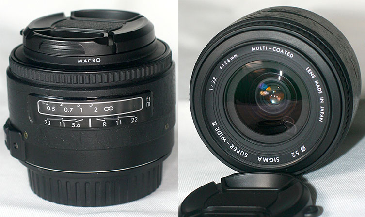 "Sigma 24 mm f/2.8 prime lens (around normal lens length on my camera not really ""super wide"" like the label on the front element says)"