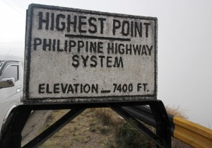 sign marking the highest point- elevation: 7,400 feet